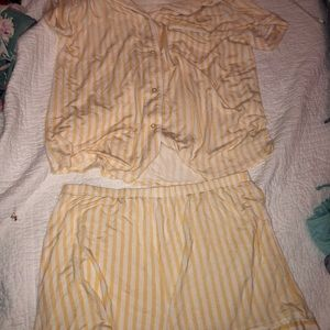 Yellow two piece sleep wear